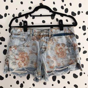Free People Printed Denim Shorts